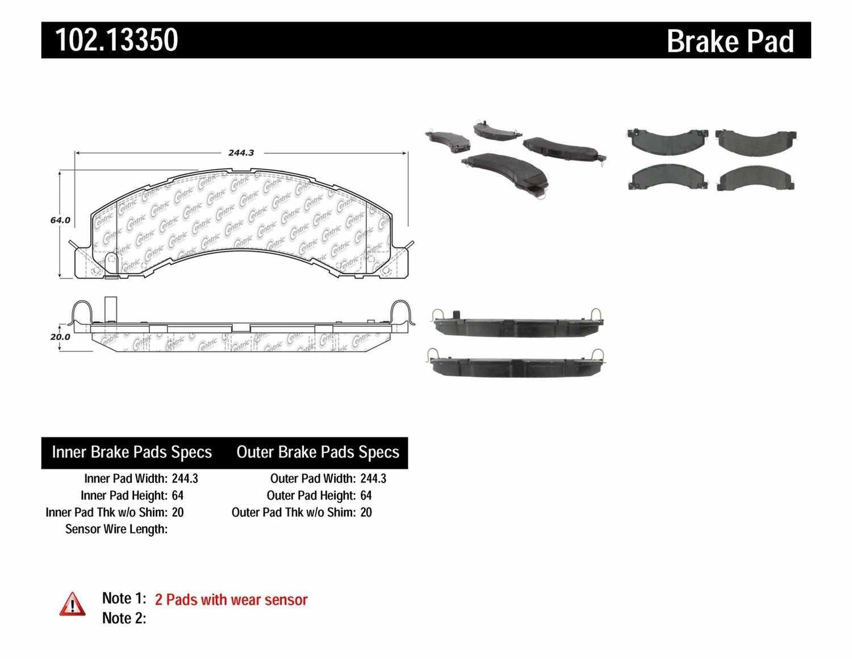 C-TEK BY CENTRIC - C-TEK Metallic Brake Pads (Front) - CTK 102.13350