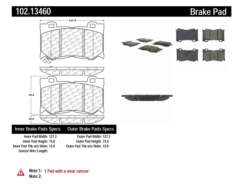 C-TEK BY CENTRIC - C-TEK Semi-Metallic Disc Brake Pad Sets (Front) - CTK 102.13460