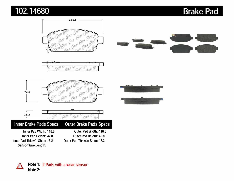 C-TEK BY CENTRIC - C-TEK Metallic Brake Pads (Rear) - CTK 102.14680