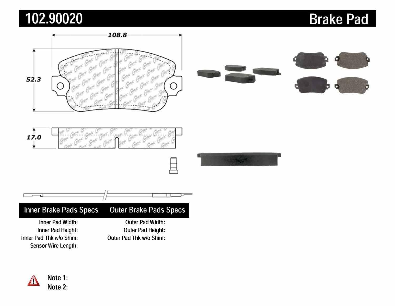 C-TEK BY CENTRIC - C-TEK Metallic Brake Pads-Preferred - CTK 102.90020