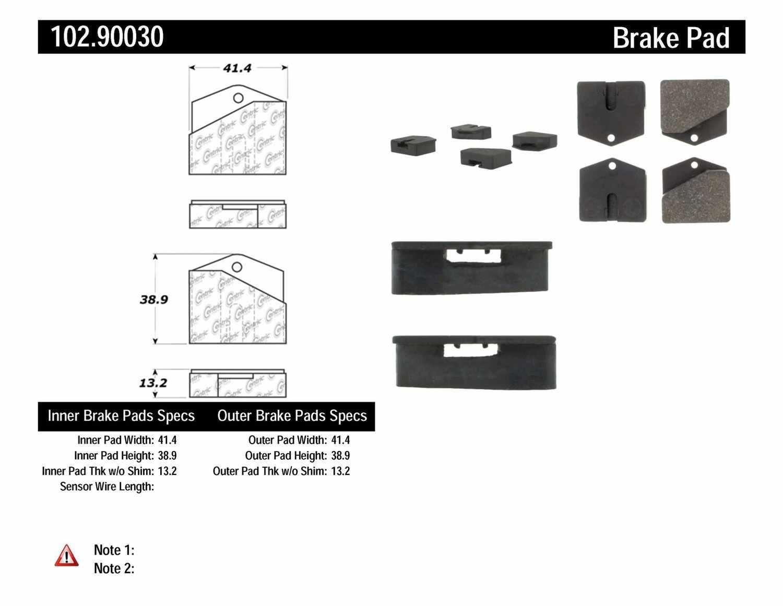 C-TEK BY CENTRIC - C-TEK Metallic Parking Brake Pad Set-Preferred - CTK 102.90030