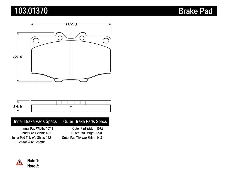 C-TEK BY CENTRIC - C-TEK Ceramic Brake Pads (Front) - CTK 103.01370