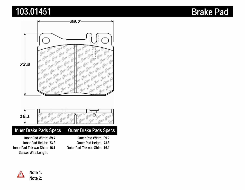 C-TEK BY CENTRIC - C-TEK Ceramic Brake Pads (Front) - CTK 103.01451