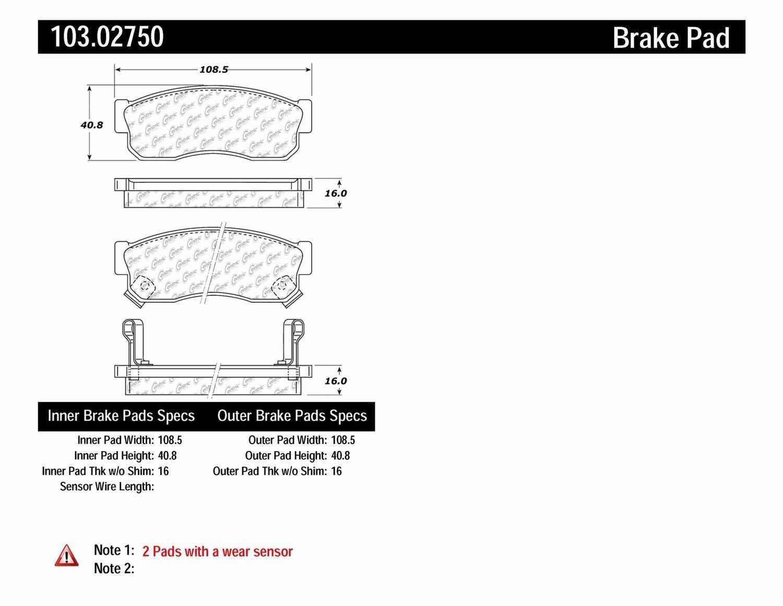 C-TEK BY CENTRIC - C-TEK Ceramic Brake Pads (Front) - CTK 103.02750