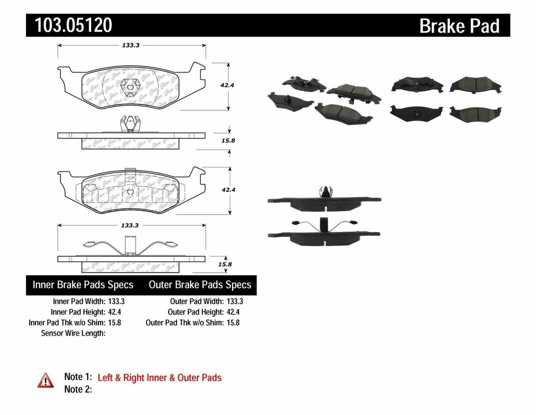 C-TEK BY CENTRIC - C-TEK Ceramic Brake Pads (Rear) - CTK 103.05120