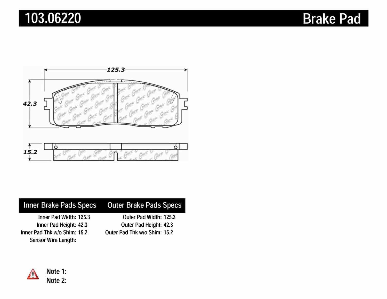 C-TEK BY CENTRIC - C-TEK Ceramic Brake Pads (Rear) - CTK 103.06220