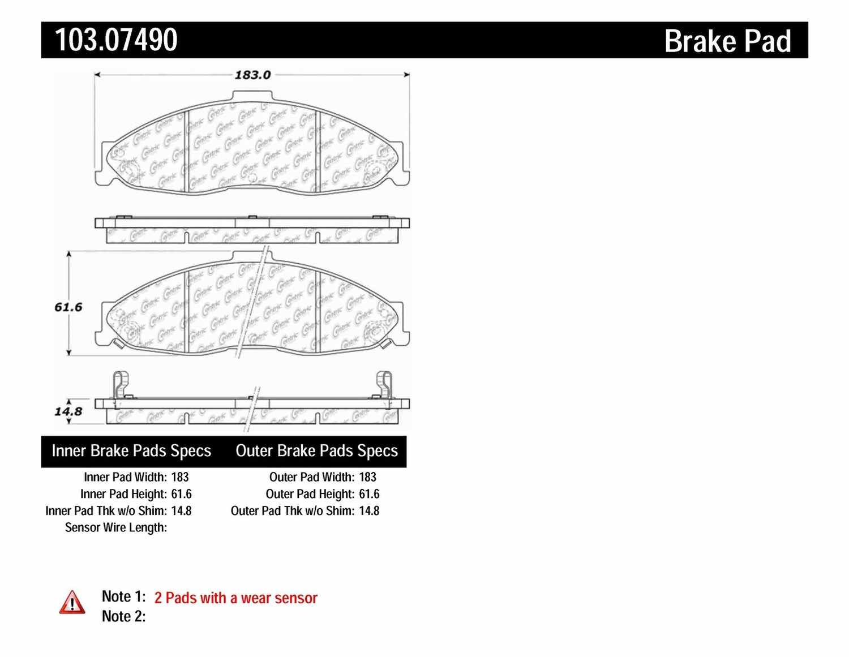 C-TEK BY CENTRIC - C-TEK Ceramic Brake Pads (Front) - CTK 103.07490