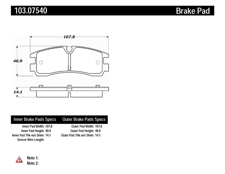 C-TEK BY CENTRIC - C-TEK Ceramic Brake Pads (Rear) - CTK 103.07540