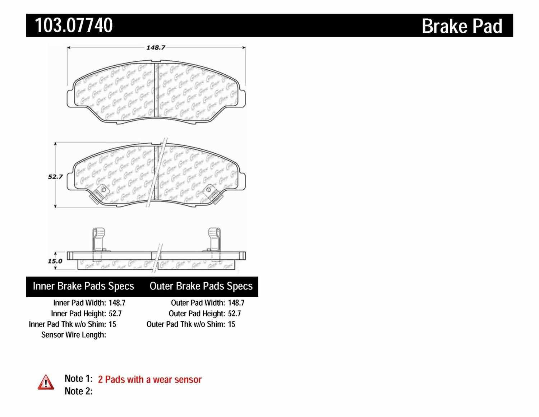 C-TEK BY CENTRIC - C-TEK Ceramic Brake Pads (Front) - CTK 103.07740