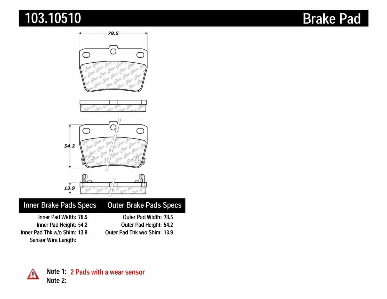 C-TEK BY CENTRIC - C-TEK Ceramic Brake Pads (Rear) - CTK 103.10510