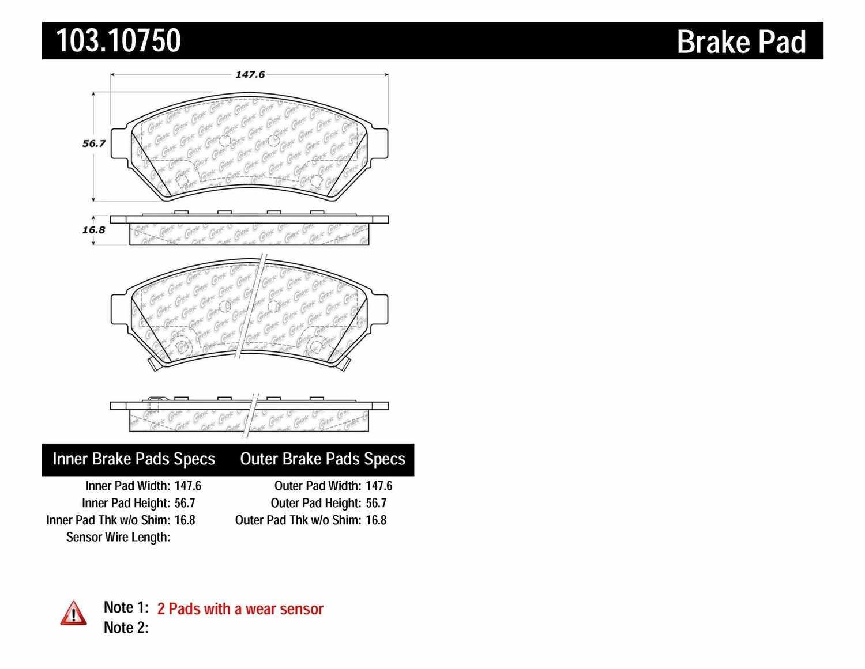 C-TEK BY CENTRIC - C-TEK Ceramic Brake Pads - CTK 103.10750