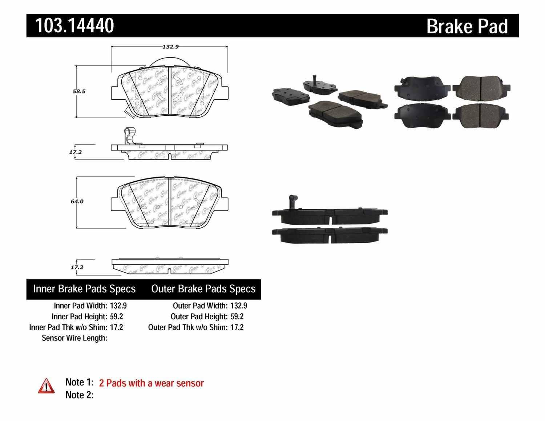 C-TEK BY CENTRIC - C-TEK Ceramic Brake Pads (Front) - CTK 103.14440
