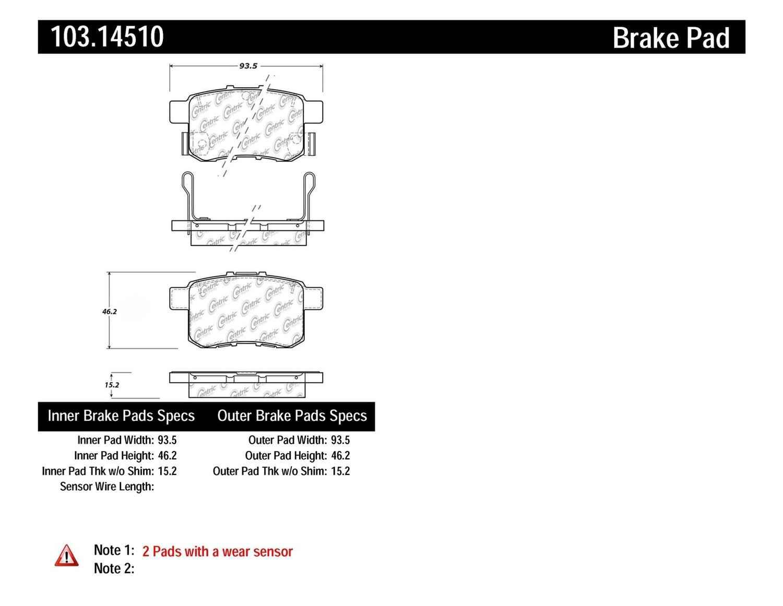 C-TEK BY CENTRIC - C-TEK Ceramic Brake Pads (Rear) - CTK 103.14510