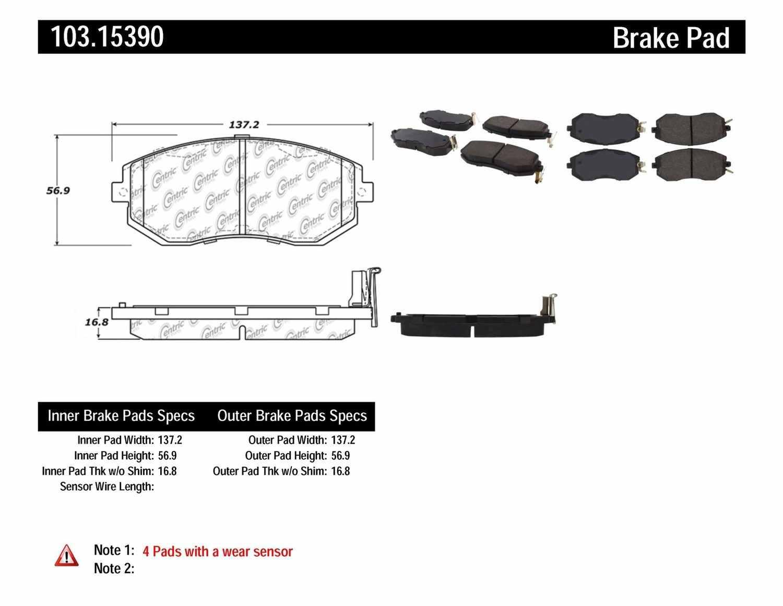 C-TEK BY CENTRIC - C-TEK Ceramic Brake Pads (Front) - CTK 103.15390