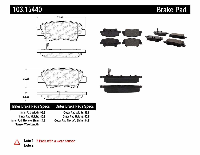 C-TEK BY CENTRIC - C-TEK Ceramic Brake Pads (Rear) - CTK 103.15440