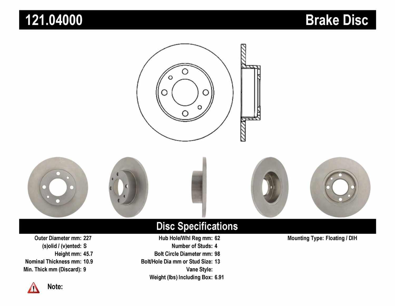 C-TEK BY CENTRIC - C-TEK Standard Disc Brake Rotor-Preferred (Front) - CTK 121.04000