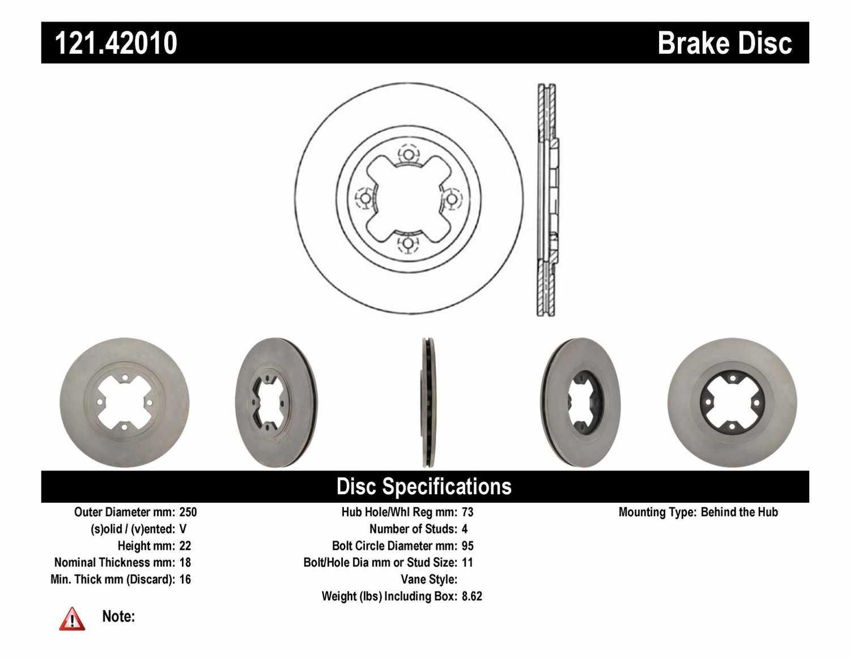 C-TEK BY CENTRIC - C-TEK Standard Disc Brake Rotor-Preferred (Front) - CTK 121.42010