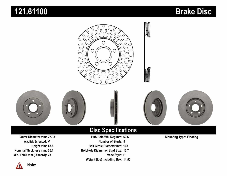 C-TEK BY CENTRIC - C-TEK Standard Disc Brake Rotor (Front) - CTK 121.61100