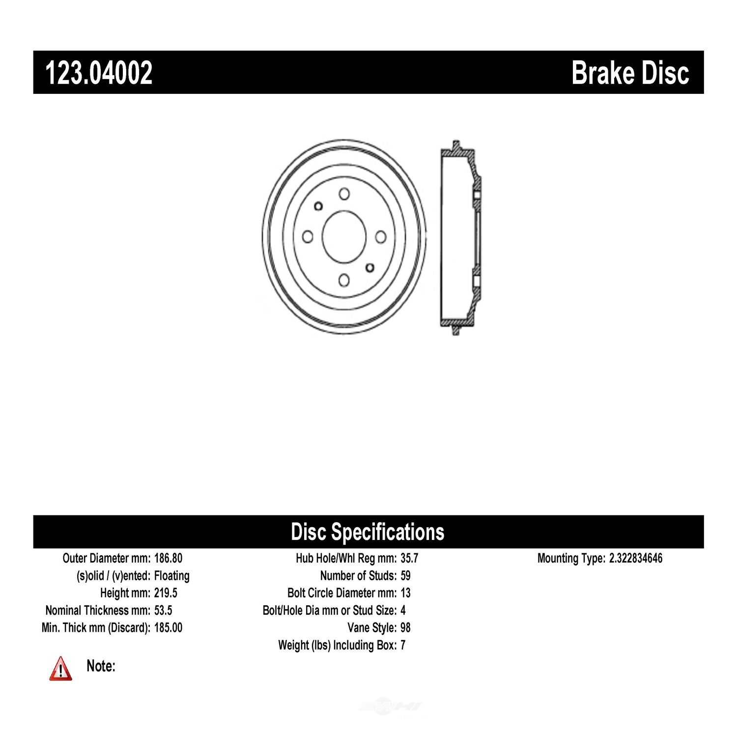 C-TEK BY CENTRIC - C-TEK Standard Brake Drum-Preferred - CTK 123.04002