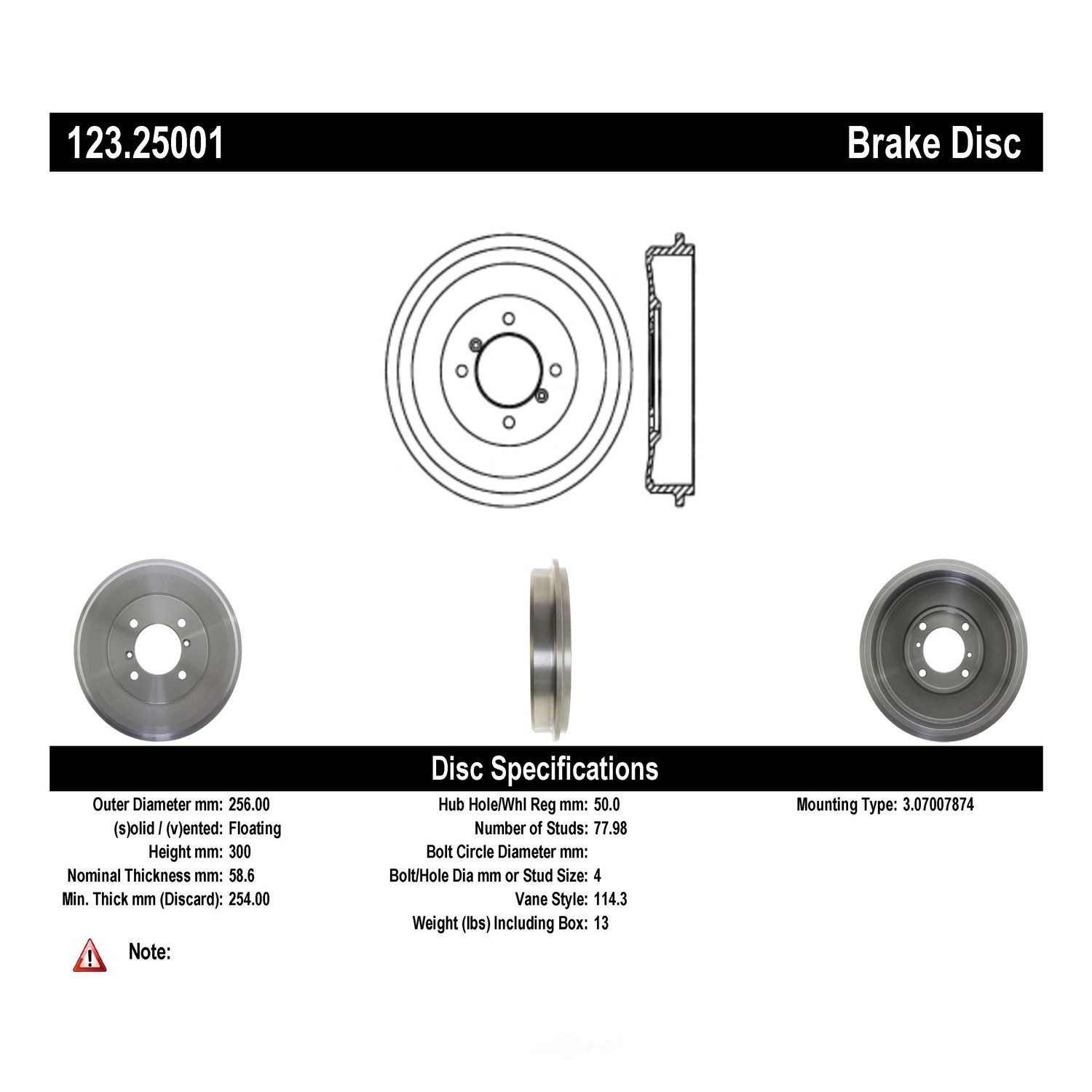 C-TEK BY CENTRIC - C-TEK Standard Brake Drum-Preferred - CTK 123.25001