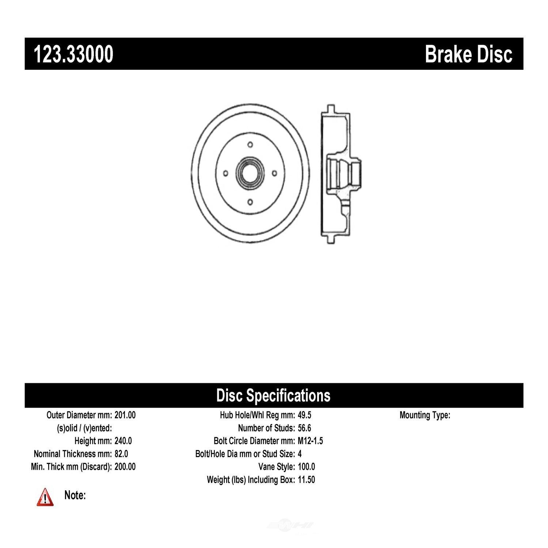 C-TEK BY CENTRIC - C-TEK Standard Brake Drum - CTK 123.33000