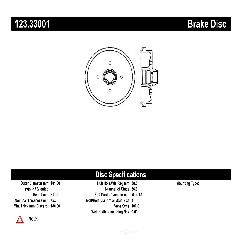 C-TEK BY CENTRIC - C-TEK Standard Brake Drum (Rear) - CTK 123.33001