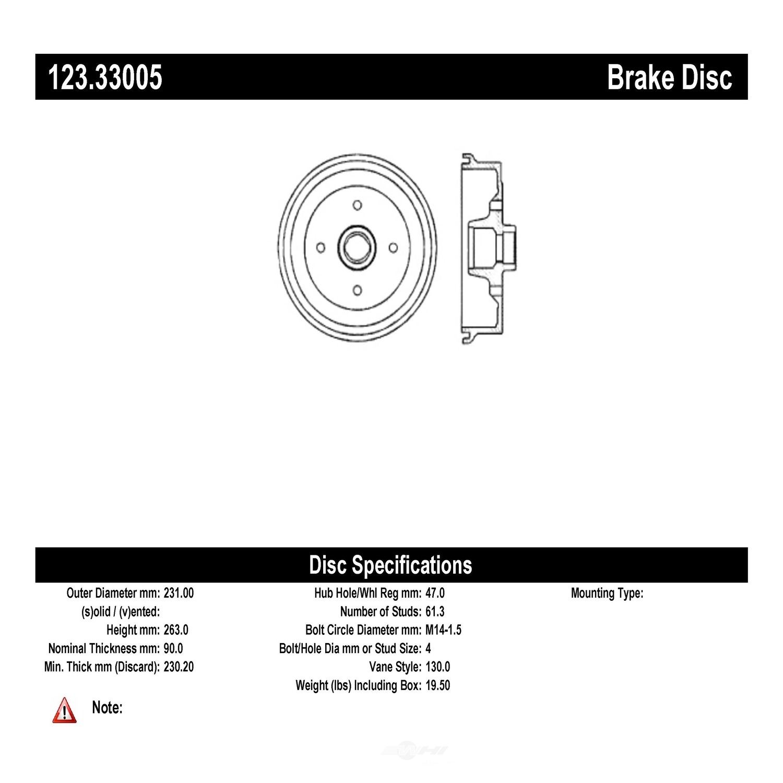 C-TEK BY CENTRIC - C-TEK Standard Brake Drum (Front) - CTK 123.33005