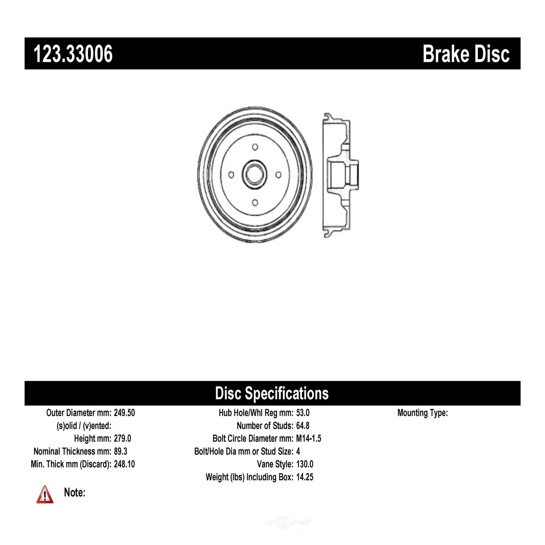 C-TEK BY CENTRIC - C-TEK Standard Brake Drum - CTK 123.33006
