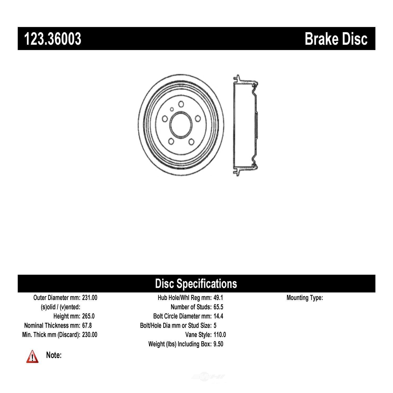 C-TEK BY CENTRIC - C-TEK Standard Brake Drum - CTK 123.36003