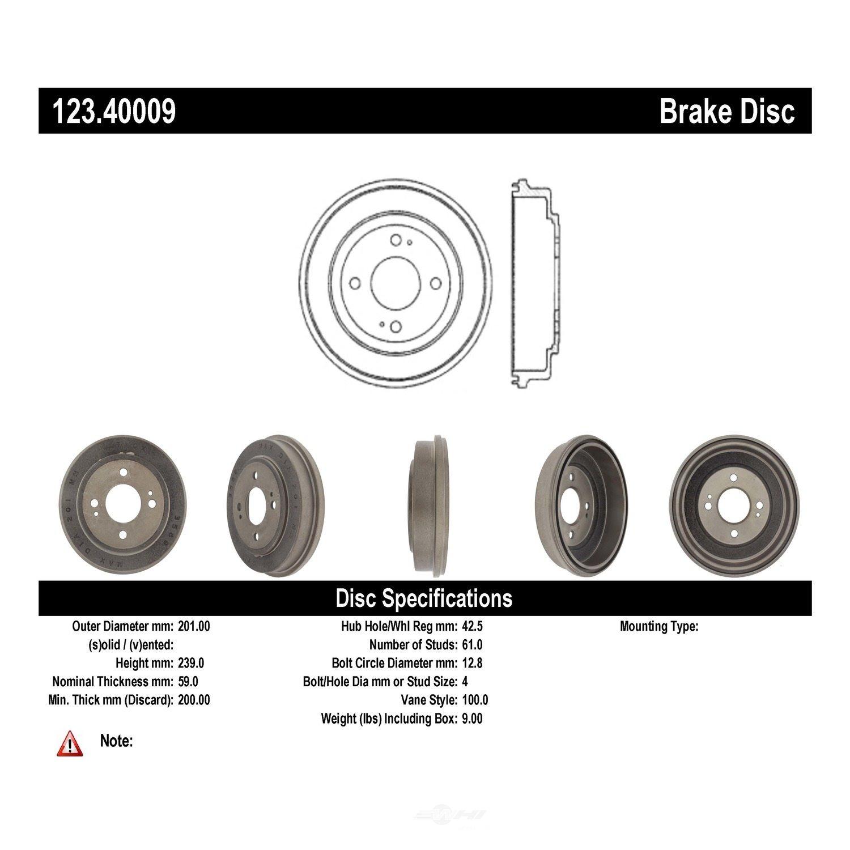 C-TEK BY CENTRIC - C-TEK Standard Brake Drum - CTK 123.40009