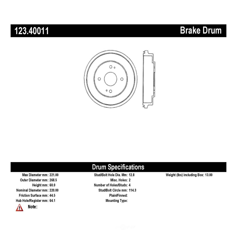 C-TEK BY CENTRIC - C-TEK Standard Brake Drum - CTK 123.40011