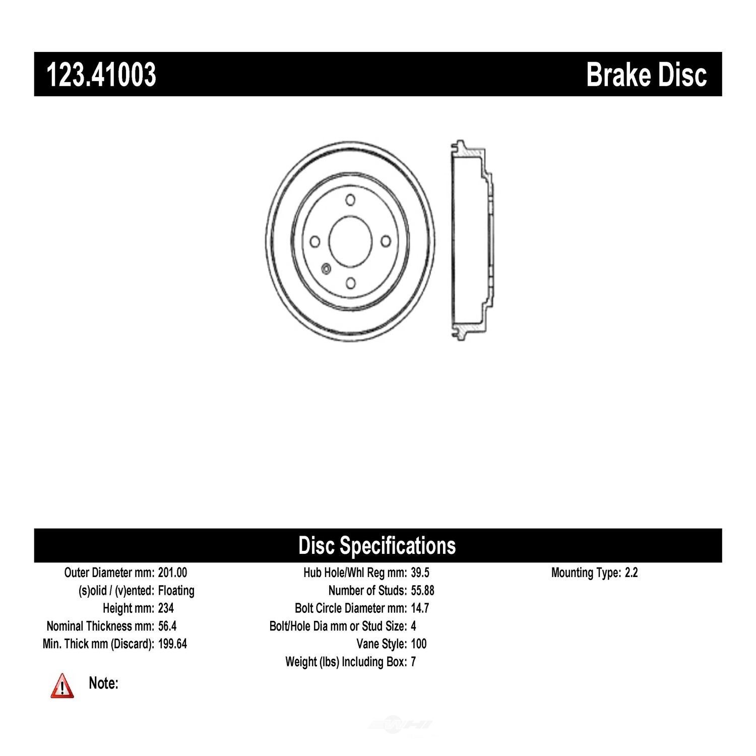 C-TEK BY CENTRIC - C-TEK Standard Brake Drum-Preferred - CTK 123.41003