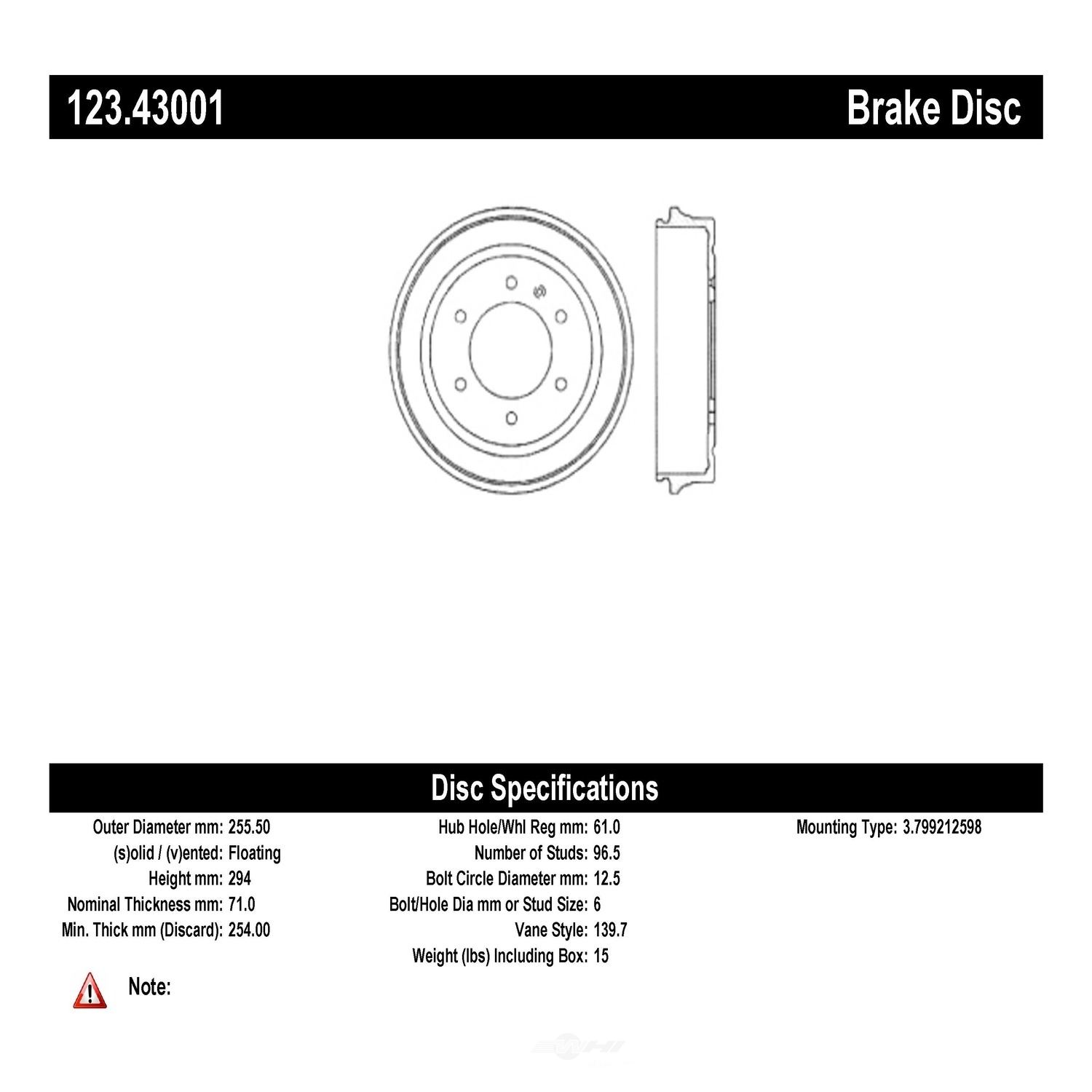 C-TEK BY CENTRIC - C-TEK Standard Brake Drum-Preferred - CTK 123.43001
