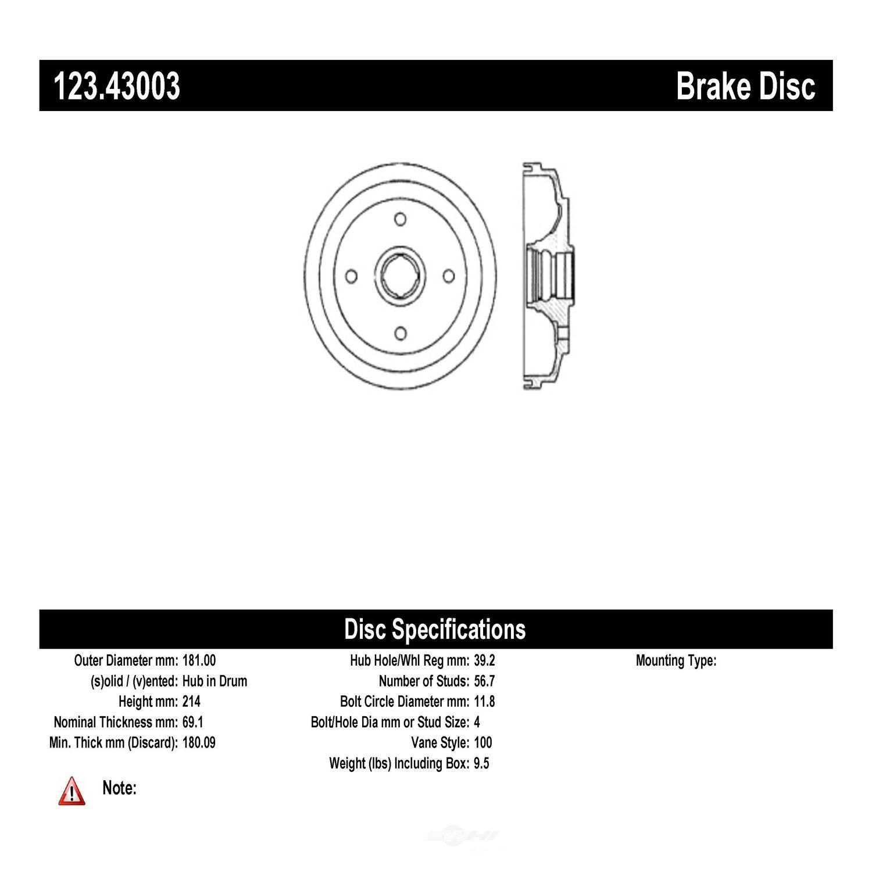 C-TEK BY CENTRIC - C-TEK Standard Brake Drum-Preferred (Rear) - CTK 123.43003