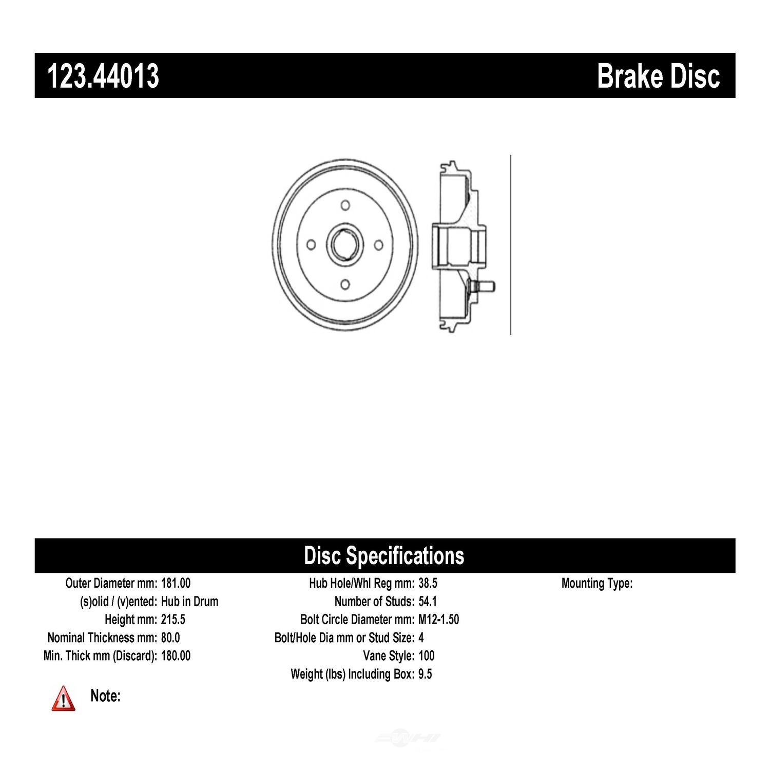 C-TEK BY CENTRIC - C-TEK Standard Brake Drum-Preferred (Rear) - CTK 123.44013