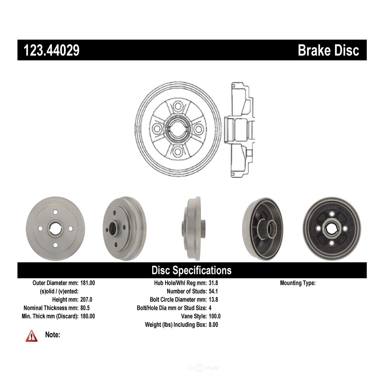 C-TEK BY CENTRIC - C-TEK Standard Brake Drum - CTK 123.44029