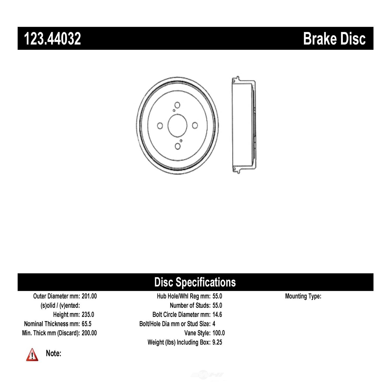 C-TEK BY CENTRIC - C-TEK Standard Brake Drum - CTK 123.44032