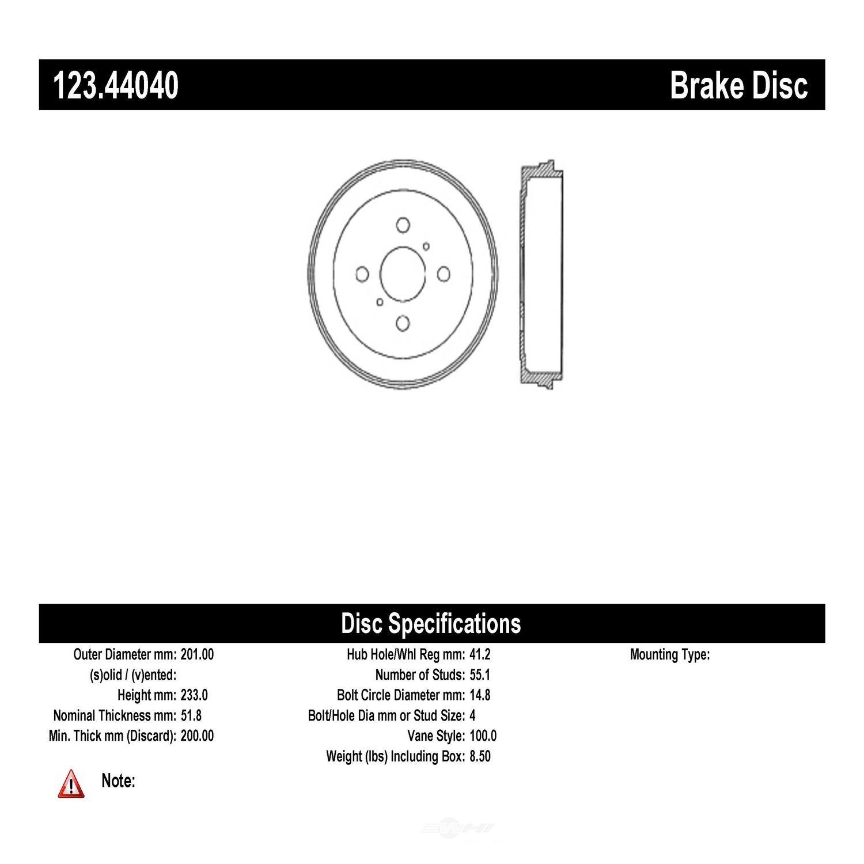 C-TEK BY CENTRIC - C-TEK Standard Brake Drum - CTK 123.44040