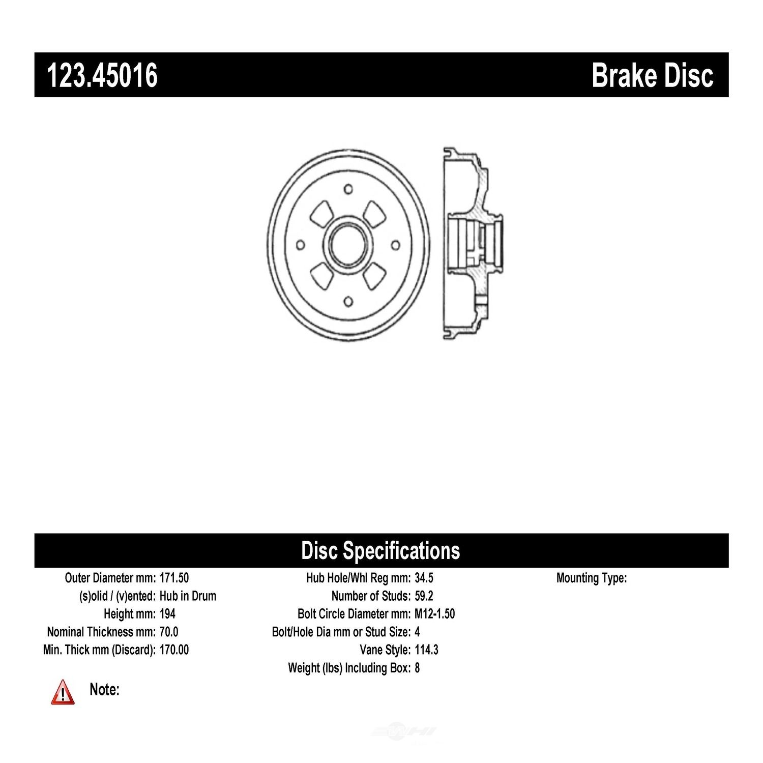 C-TEK BY CENTRIC - C-TEK Standard Brake Drum-Preferred - CTK 123.45016