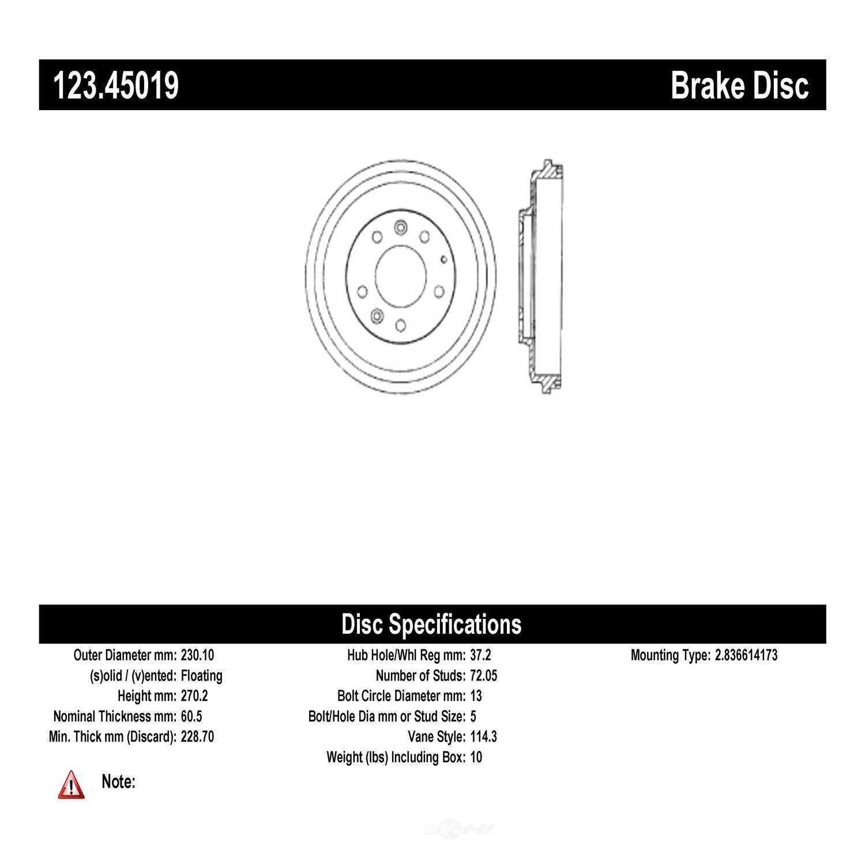 C-TEK BY CENTRIC - C-TEK Standard Brake Drum-Preferred (Rear) - CTK 123.45019