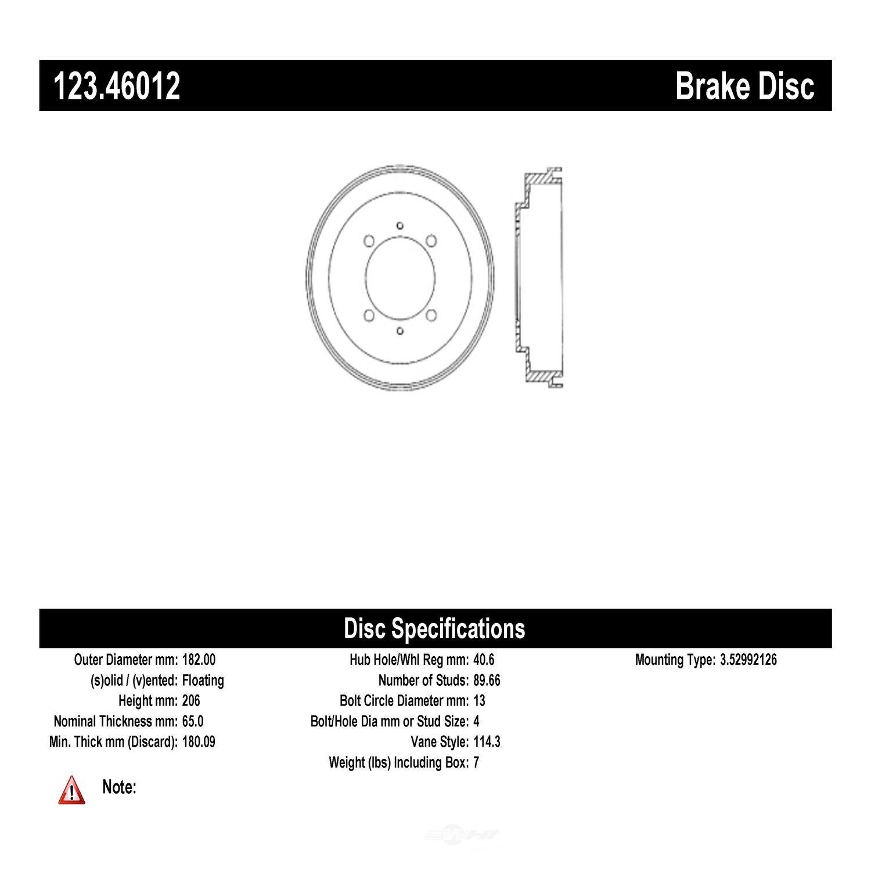C-TEK BY CENTRIC - C-TEK Standard Brake Drum-Preferred (Rear) - CTK 123.46012