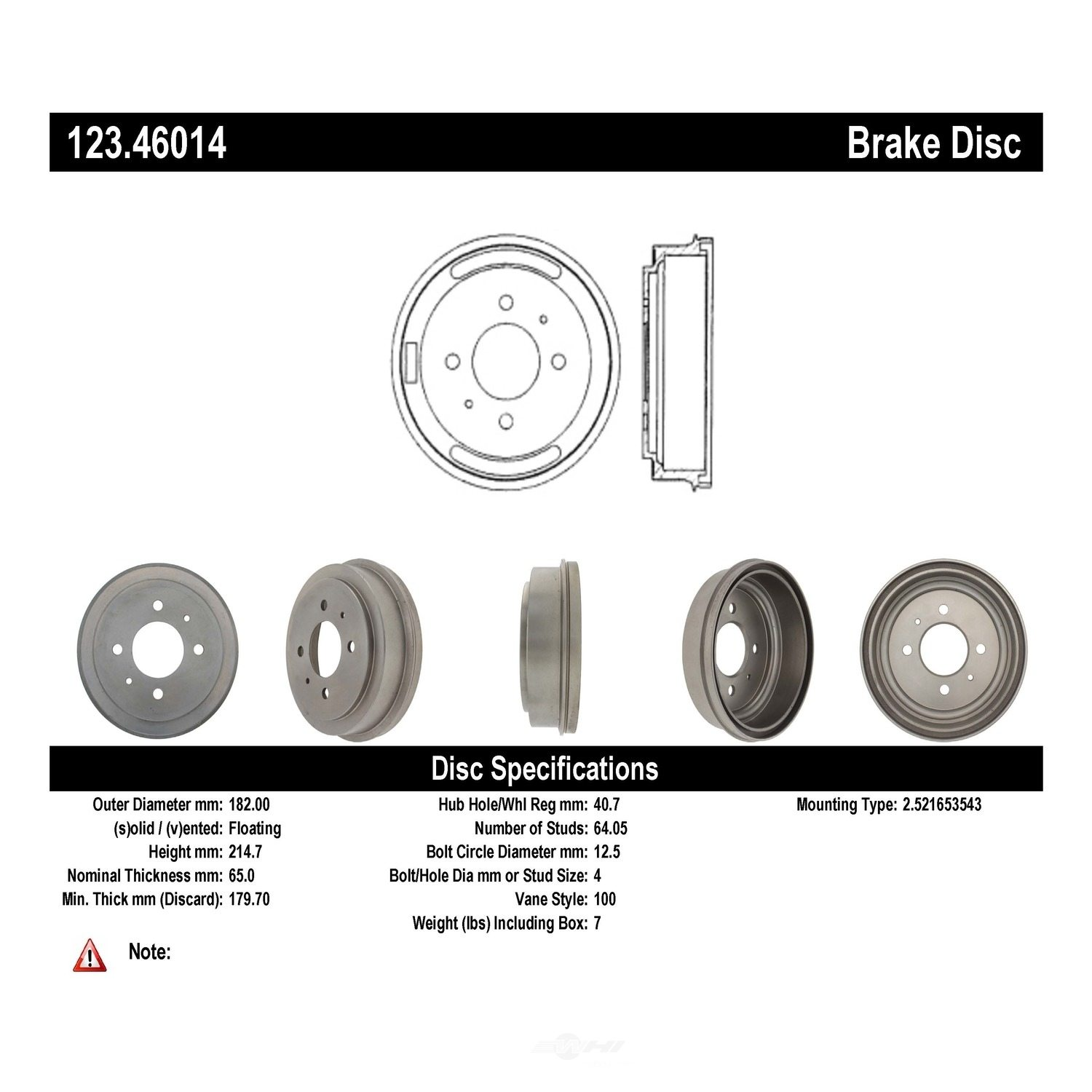 C-TEK BY CENTRIC - C-TEK Standard Brake Drum-Preferred - CTK 123.46014