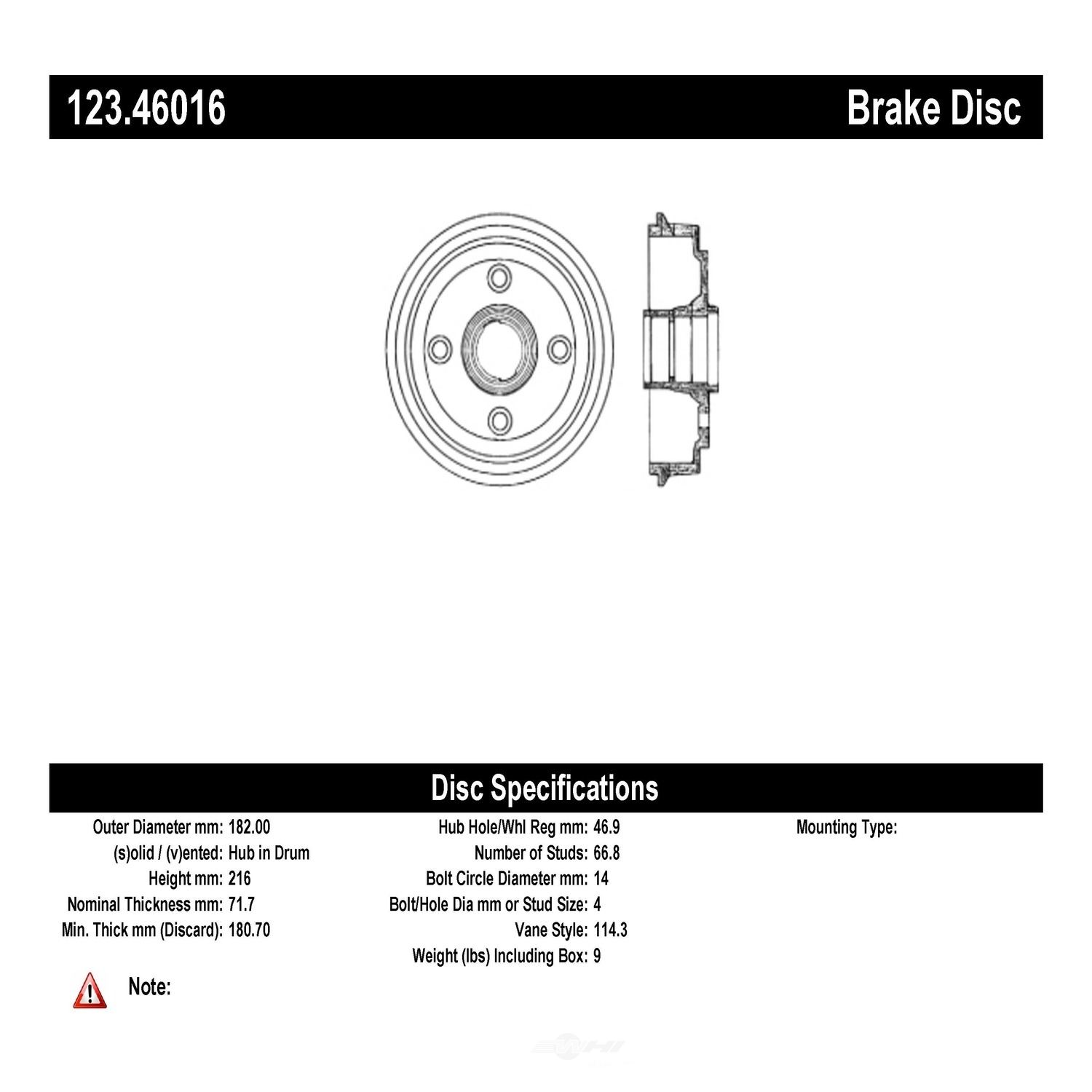 C-TEK BY CENTRIC - C-TEK Standard Brake Drum-Preferred (Rear) - CTK 123.46016
