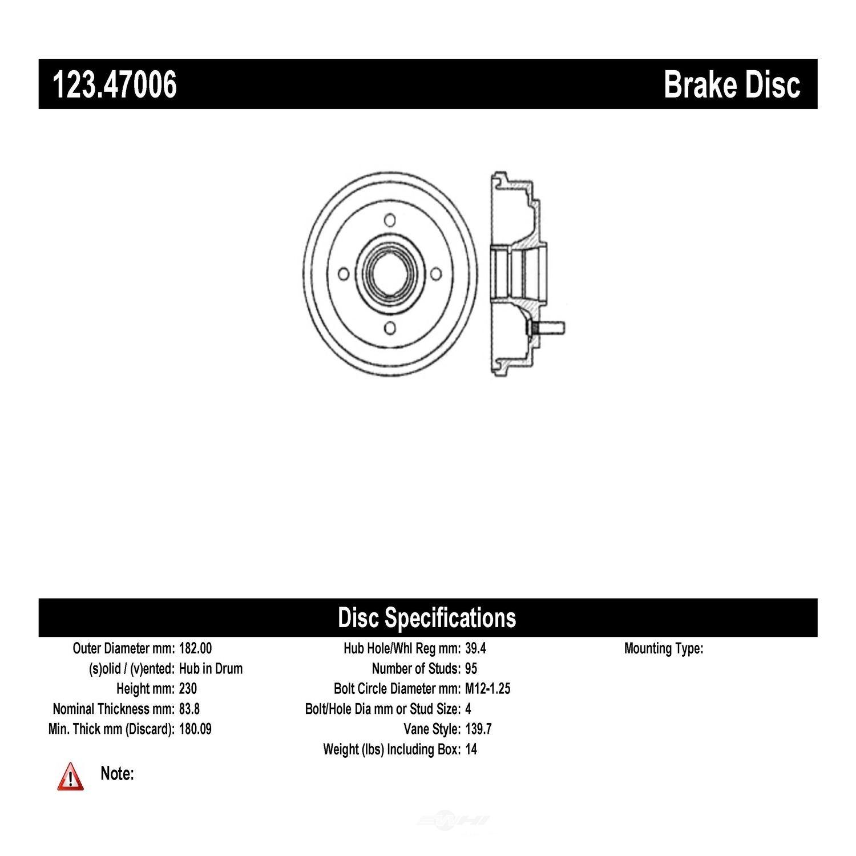 C-TEK BY CENTRIC - C-TEK Standard Brake Drum-Preferred (Rear) - CTK 123.47006