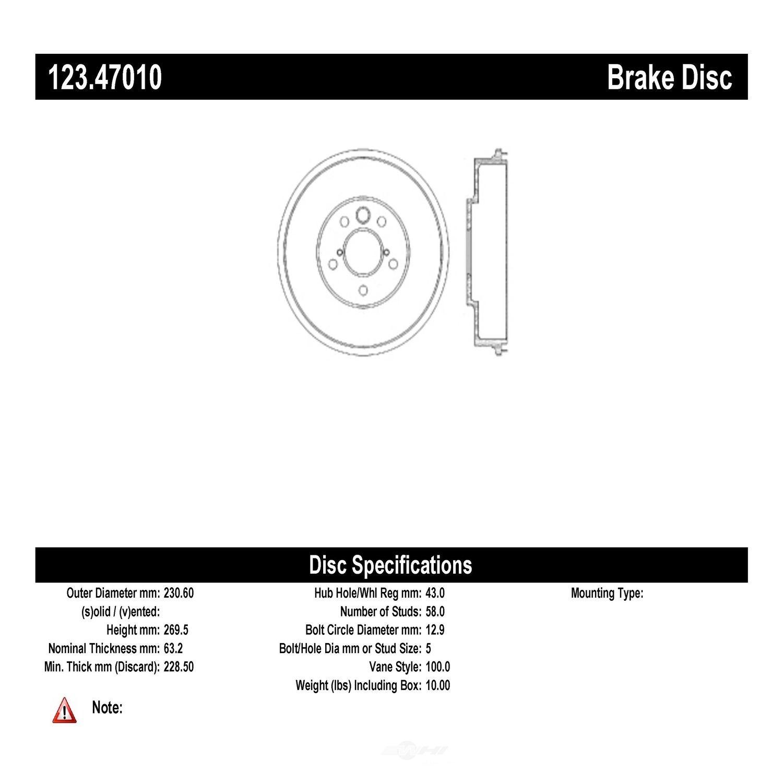 C-TEK BY CENTRIC - C-TEK Standard Brake Drum - CTK 123.47010