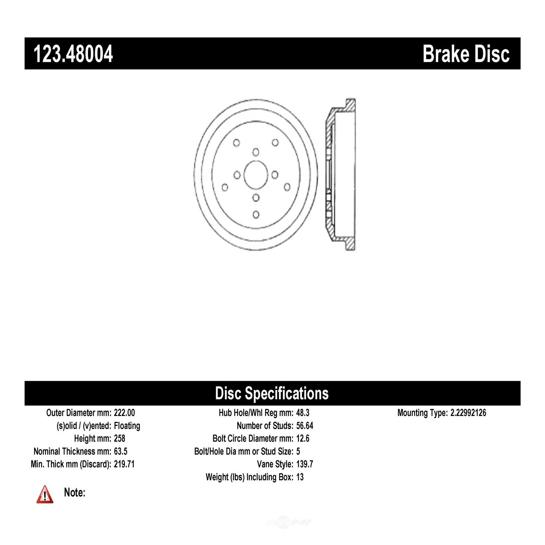 C-TEK BY CENTRIC - C-TEK Standard Brake Drum-Preferred (Rear) - CTK 123.48004