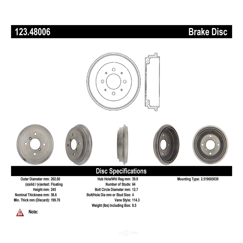 C-TEK BY CENTRIC - C-TEK Standard Brake Drum-Preferred - CTK 123.48006