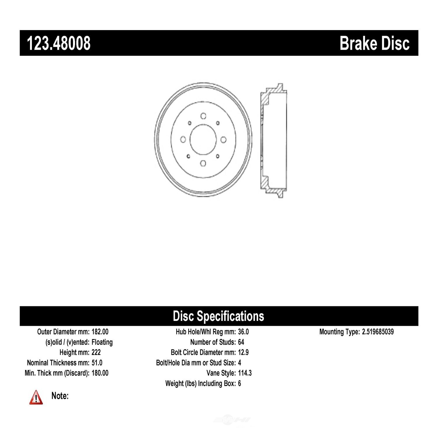 C-TEK BY CENTRIC - C-TEK Standard Brake Drum-Preferred - CTK 123.48008