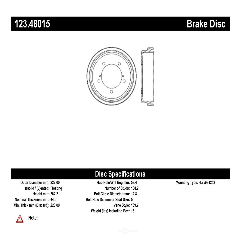 C-TEK BY CENTRIC - C-TEK Standard Brake Drum-Preferred - CTK 123.48015