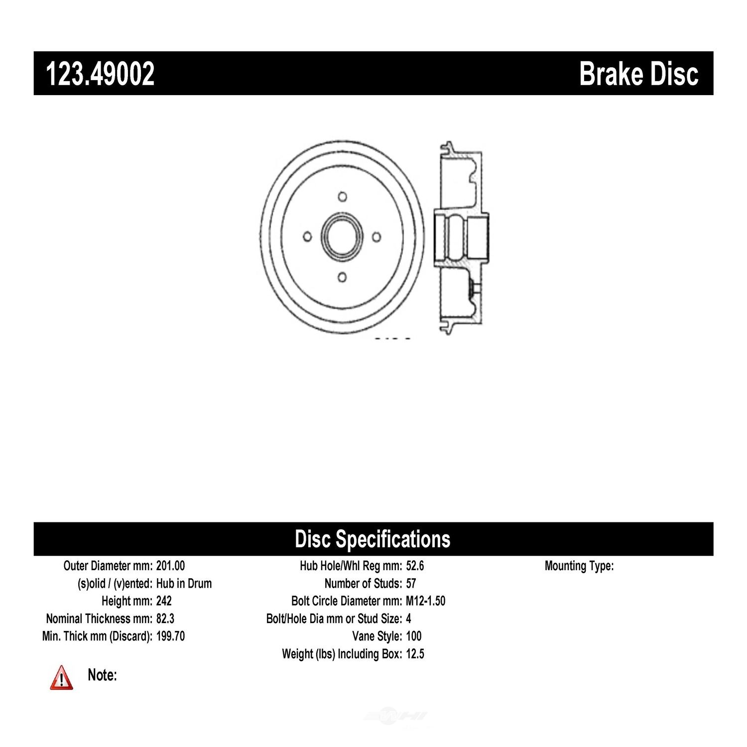 C-TEK BY CENTRIC - C-TEK Standard Brake Drum-Preferred (Rear) - CTK 123.49002